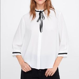 Zara blouse with contrast bow